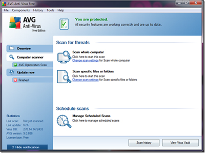 AVG Antivirus Free 9.0 - AVG AntiVirus Free Edition 2011 - Best and free antivirus for Windows 7 - Antivirus Gratuit pentru Windows 7