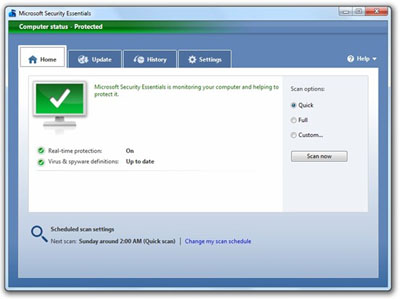 Microsoft Security Essentials - Best and free antivirus for Windows 7 - Antivirus Gratuit pentru Windows 7